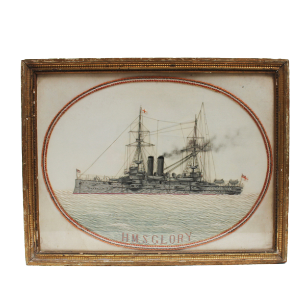 WOVEN SILK PICTURE OF HMS GLORY
